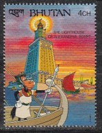 BHUTAN, 1990, 1991, Wonders Of The World, Walt Disney,Lighthouse Alexandria,  1 Value, 4 Ch,  MNH(**) - Disney