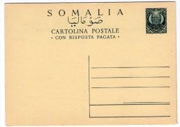 SOMALIA AFIS - CARTOLINA POSTALE 15+15 C. CON RISPOSTA UNITA / STATIONERY / ENTIER - Somalia