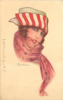 DONNINA CON LA SCIARPINA DI TULLE. ILLUSTRAZIONE DI BUSI - CARTOLINA DEL 1919 - Busi, Adolfo