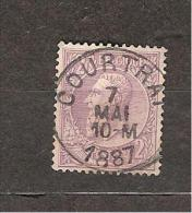 N° 52, 2F Violet Sur Lilas-pâle, Obl Concours COURTRAI 7 MAI 1887 - 1884-1891 Léopold II