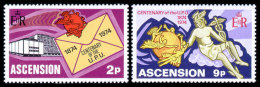 Ascension, 1974, Centenary Of The UPU, 1974, Michel #179-80, Scott #179-80, MNH, Perforated Set - UPU (Unión Postal Universal)