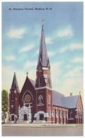 ST. ALOYSIUS CHURCH - NASHUA, NEW HAMPSHIRE, USA (Unused Old Linen Postcard) - Nashua