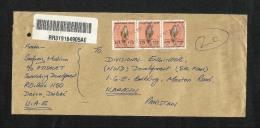 United Arab Emirates UAE Registered Air Mail Postal Used Cover Dubai To Pakistan  Eagle Birds Animal - Dubai