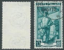 1950-54 TRIESTE A USATO ITALIA AL LAVORO 12 LIRE FILIGRANA LETTERA - L1 - Usati