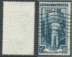 1950-54 TRIESTE A USATO ITALIA AL LAVORO 15 LIRE FILIGRANA LETTERA - L1 - Usati