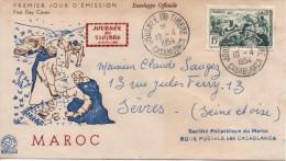 MAROC 330 FDC 1er Jour Relais Poste Automobile Jeep Journée Timbre 10 Avril 1954 Casablanca - Airmail