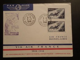 Lettre Premier Vol First Flight Cover 20 Ans Aeropostale Paris Buenos Aires Air France 1948 - Poste Aérienne