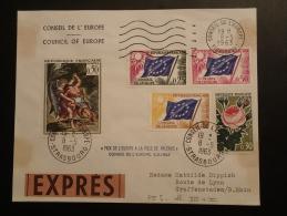 Lettre Expres Conseil De L'Europe Affranchissement Mixte Prix De L'Europe Ville De Palerme Strasbourg 1963 - Dienstpost