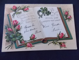 Carte Gaufrée  Livre Roses Comme Un Bouton De Rose Au Matin D Un Beau Jour - Flowers