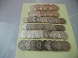 tres beau lot de pi�ce en argent,5x50 frs hercule 5x10frs hercule,11x5frs semeuse,11x10frs turin,10x100frs,9 ecus,date d