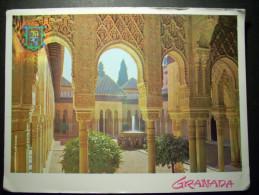 6714 ESPAÑA SPAIN ANDALUCIA GRANADA ALHAMBRA PATIO DE LOS LEONES POSTCARD POSTAL AÑOS 80 CIRCULADA - TENGO MAS POSTALES - Granada