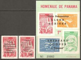 Panama 1963 Mi# 656-657, Block 13 ** MNH - Overprinted - Visit Of The Astronauts To Panama / Space - Panama