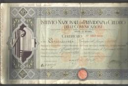Istituto Nazionale Di Previdenza E Credito Delle Comunicazioni Roma Certificato Mutua Previdenza 1933 Doc.189 - Italia