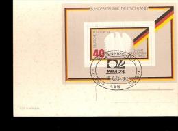 GERMANY 74 CARTOLINA SUL RETRO FOGLIETTO CON ANNULLO SPECIALE - 1974 – Germania Ovest