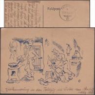 Allemagne 1942. Carte En Franchise Militaire. Bande Dessinée. Massacre D'oies En Cuisine - Oies