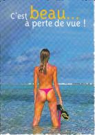 CPM FEMME SEXY MASQUE PLONGEE MER FESSES A MOITIE NUES C EST BEAU A PERTE DE VUE FEELING COMBIER PHOTO PIX HURLEBEAU - Photographie