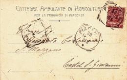 CATTEDRA AMBULANTE DI AGRICOLTURA PER LA PROVINCIA DI PIACENZA VIAGGIATA 1904