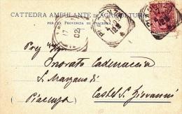 CATTEDRA AMBULANTE DI AGRICOLTURA PER LA PROVINCIA DI PIACENZA VIAGGIATA 1902