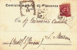 COMIZIO AGRARIO DI PIACENZA  VIAGGIATA 1898