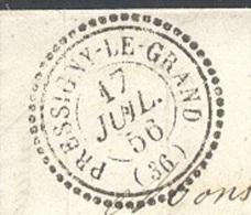INDRE ET LOIRE 37 PRESSIGNY LE GRAND LAC  Tad 22 Du 17/07/1856 PC 2576 Sur N° 14 (bleu Foncé Touché) SUP Ind19 - Marcofilia (sobres)