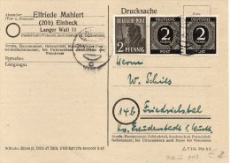 ALL BES Postkarte EINBECK - FRIEDRICHSTAL Mit 912 (waagr. Paar) + 943  12.10.47 - Amerikaanse, Britse-en Russische Zone