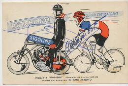 Auguste Wambst Né A Luneville Cycliste Derriere Moto Derny G. Grolimond Pub Petrole Sigoline Hutchinson Meyer Montrouge - Luneville