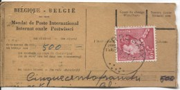 TP 848a Poortman Cylindre Retouché S/Fragment De Mandat Poste International + Ligne Rouge S/TP C.Ressaix En 1951 250 - Belgium
