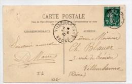 """1910 - CP Avec CACHET AMBULANT """"LYON à VEYNES"""" - Postmark Collection (Covers)"""