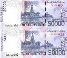 PAREJA CORRELATIVA DE INDONESIA DE 50000 RUPIAH DEL AÑO 2014 CALIDAD EBC (XF)  (BANKNOTE) - Indonesia