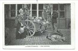 """CPA - LAITIERE FLAMANDE -  Attelage Chiens - """" Une Surprise """"   // - Fermes"""
