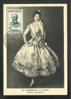 """FRANCIA 1957 - Tarjeta """" CARMENCITA """" Pintor SARGENT - Sello Michel Ange - Cartes Maximum"""