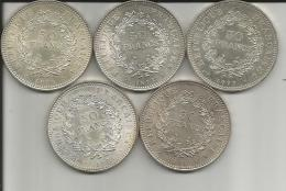 5 PIECES 50 FRANCS  ARGENT 1 X 1974 1 X 1976 2 X 1977 1 X 1978