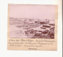 Photographie ancienne : PORT d'ALGER ...: dat�e du 1 mars 1902.
