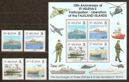 St-Helena 1992 Yvert 569-72 Et Bloc 11 *** MNH Cote 17,50 Euro  Bateaux Ships Boten - Sainte-Hélène