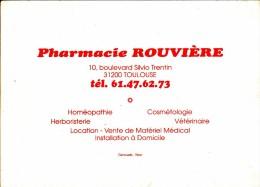 """Calendrier De  La """" Pharmacie ROUVIERE  - TOULOUSE  """"  1989 - Dimension 14 X 10 - Calendriers"""