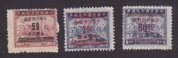 China, Scott #913, 915, 924, Mint Hinged, Plane, Train And Ship Surcharged, Issued 1949 - China