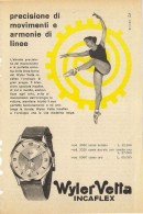 # WYLER VETTA INCAFLEX OROLOGI HORLOGERIE 1950s  Italy Advert Publicitè Montre Uhr Reloj Watch Clock Danse Dance Tanz - Orologi Pubblicitari