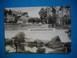 CARTE PHOTO  MAGDEBURGERFORTH  -  Betriebsferienheim Des Volksgutes  -  Kirche  -  Dorfteich  - - Magdeburg