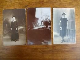 3 Anciennes Cartes Photos Sihouettes De Femmes - Silhouettes