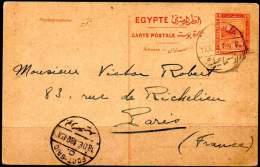 EGYPT 1918. Entire P.C. Of 4m Pyramids Of 1913, From Ismailia To Paris - Égypte