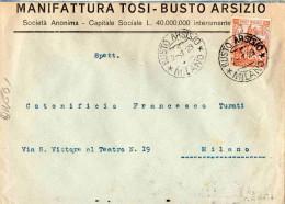 BUSTA POSTALE PUBBLICITARIA-BUSTO ARSIZIO-2-1-1929-MANIFATTURA TOSI X COTONIFICIO A MILANO - 1900-44 Vittorio Emanuele III