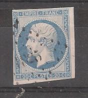 Empire N° 14 A F, Bleu LAITEUX Obl PC 1825  De MADIRAN, Hautes Pyrénées,  Indice 18, B/TB, Rare - 1853-1860 Napoleon III