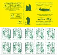 France 2015 - Carnet De 10 Timbres Marianne - Vert - Couverture TAAF - 2013-... Marianne De Ciappa-Kawena