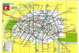CPM - 75 - PARIS - Stations De Métro Et Lignes D'Autobus Desservant Les Principaux Monuments - Transport Urbain En Surface