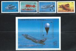 "Dominica     "" Airplanes""    Set & Souvenir Sheet     SC# 805-09   MNH**"