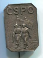 Fire Department Feuerwehr  CSPO - Ceskoslovensky Svaz Pozarny Ochrany,  Czech Republic / Slovakia, Vintage Pin  Badge - Bomberos