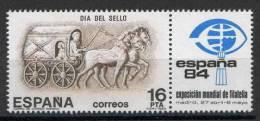 TIMBRE ESPAGNE NOUVEAU 1983  JOURNEE DU TIMBRE - COURRIERS FACTEUR ROMAIN EN CHARETTE JETÉE PAR DES CHEVAUX - Día Del Sello