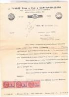 Llettre Facture Timbre Fiscal 1951.THIRIEZ CARTIER BRESSON FILS 63 FAUBOURG DE BETHUNE LILLE.. FAC221 - Textile & Vestimentaire