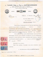 Llettre Facture Timbre Fiscal 1954.THIRIEZ CARTIER BRESSON FILS 63 FAUBOURG DE BETHUNE LILLE.. FAC223 - Textile & Vestimentaire