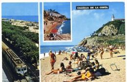 Cp , ESPAGNE ,  Chemin De Fer , Train , Multi-vues , Vierge , CALELLA DE LA COSTA , 622 , - Cartes Postales